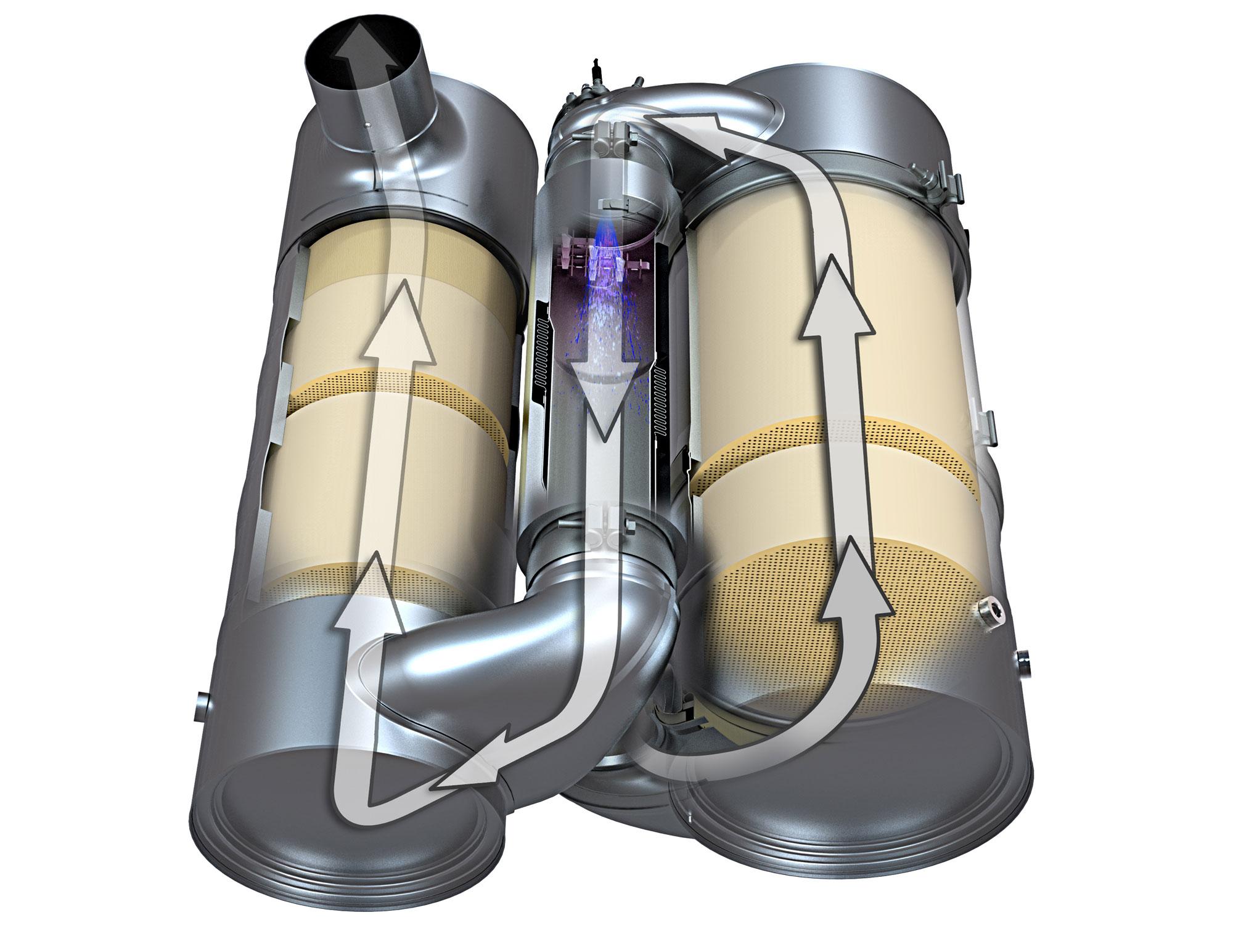 Abgasweg bei Cat Motoren der Stufe IV: Zunächst erfolgt im DOC die Reduzierung von Kohlenmonoxid und Wasserstoff, dann im DPF die Oxidation der Dieselpartikel (beide rechts). Im Mischrohr werden nun DEF eingespritzt und die Abgase vermischt (Mitte), gefolgt von SCR (links) zur chemischen Umwandlung der Stickoxide zu unschädlichem Stickstoff und Wasser. Nach AMOX zur Geruchsneutralisierung geht es ins Endrohr. Foto: Zeppelin