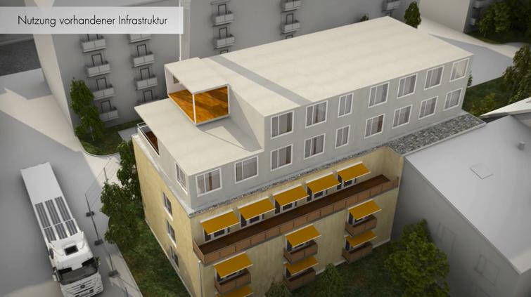 Nachverdichtung durch modulares und serielles Bauen. Foto: TCW